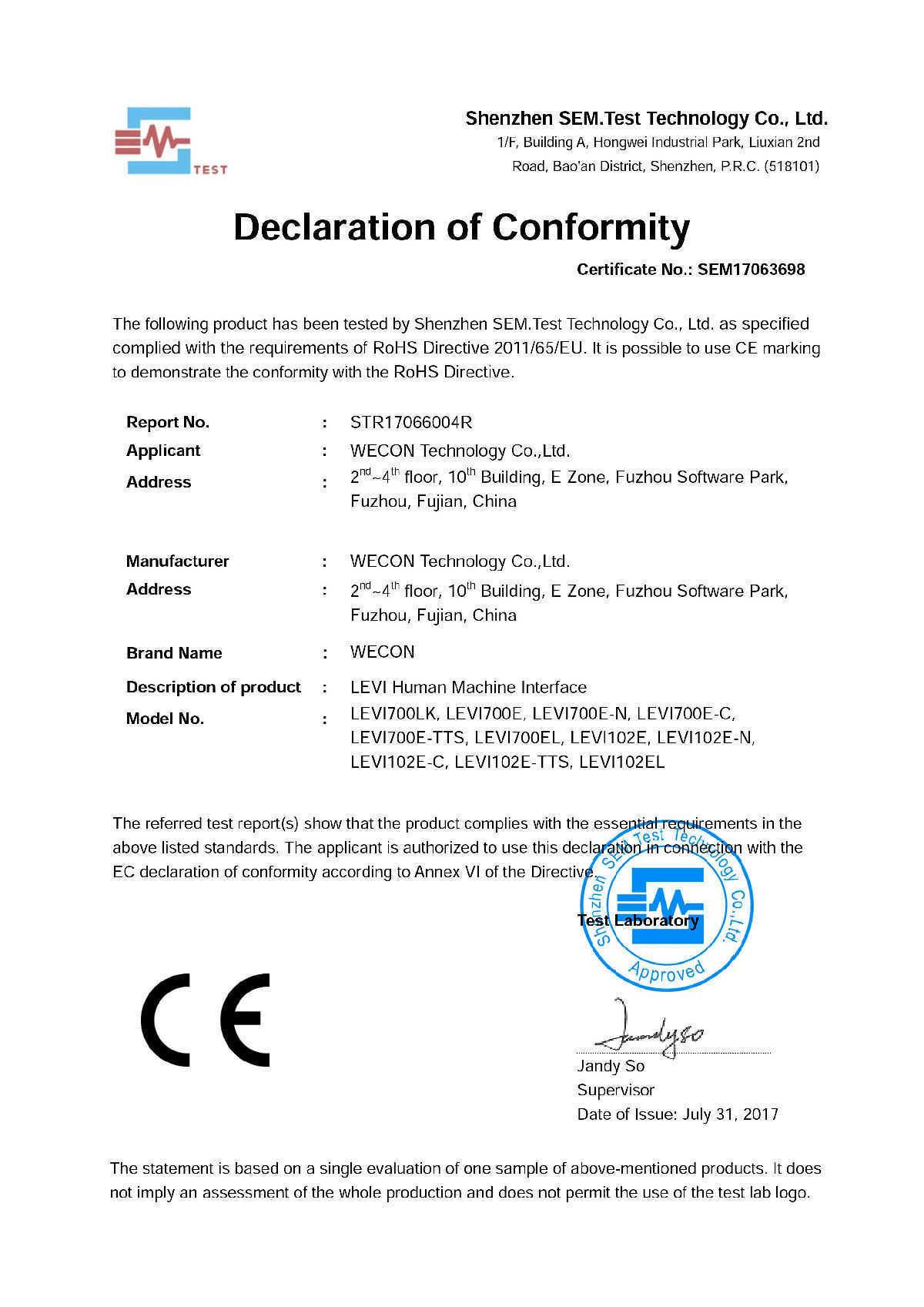 сертификат RoHS выдан